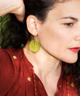 Boucles d'oreilles pétales de bougainvillier vert