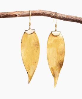 Boucles d'oreille feuilles de ruscus dorées à la feuille d'ore 24K