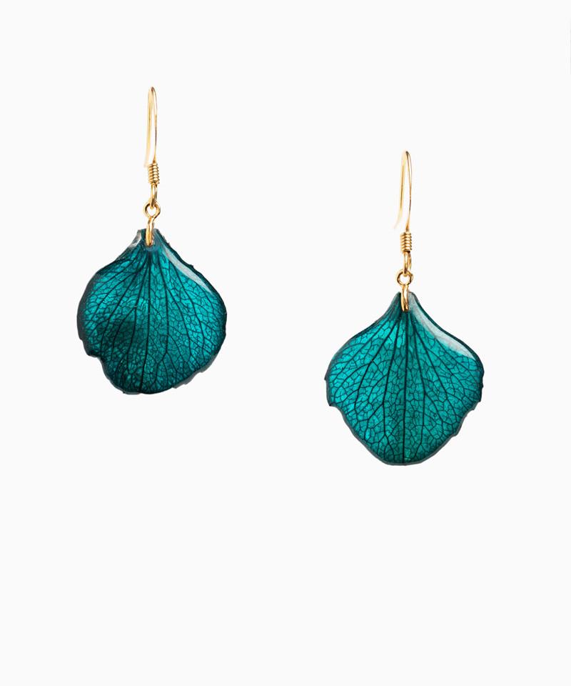Boucles d'oreilles pétales d'hortensia bleu pétrole