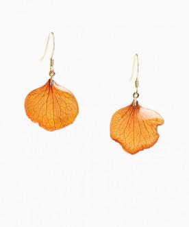 Boucles d'oreilles pétales d'hortensia Orange