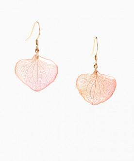 Boucles d'oreilles pétales d'hortensia rose clair