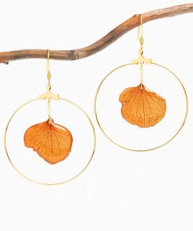 Créoles pétales d'hortensia orange