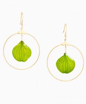 Créoles pétales d'hortensia vert