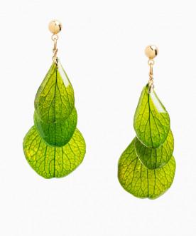 Boucles d'oreilles pendantes pétales d'hortensia vert