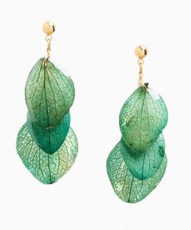Boucles d'oreilles pendantes pétales d'hortensia vert bleu